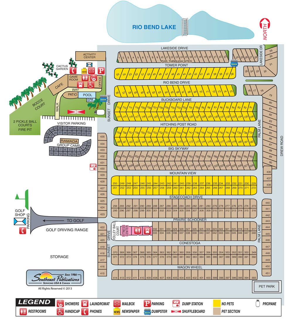 Map of Rio Bend RV & Golf Resort